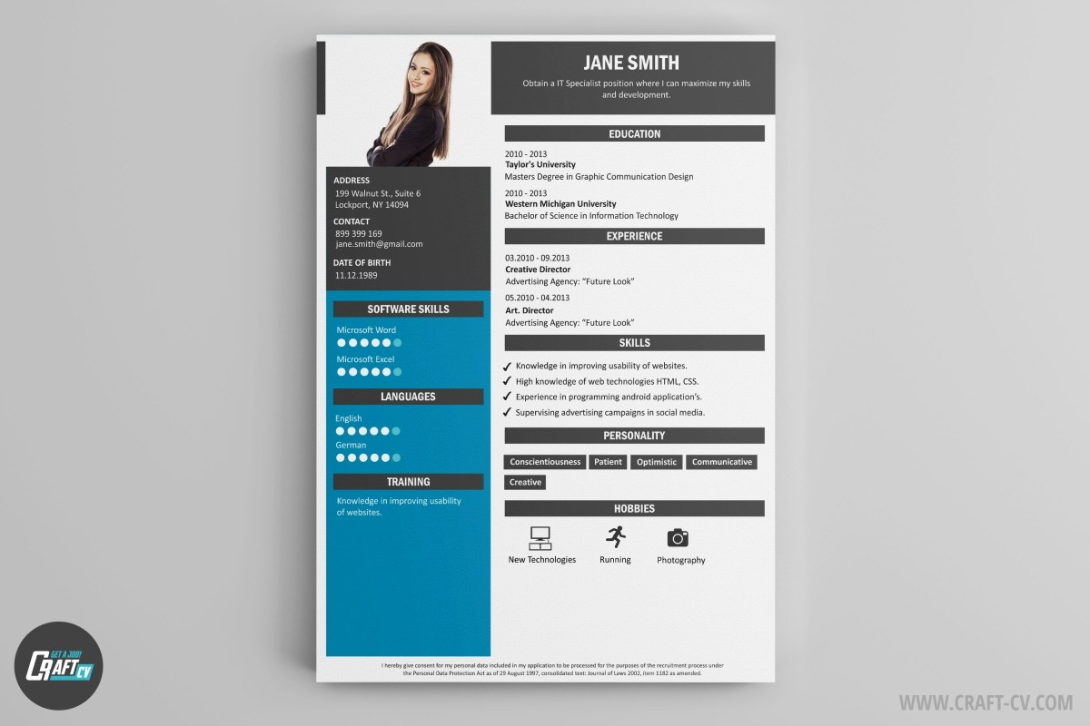 resume templates for creative jobs
