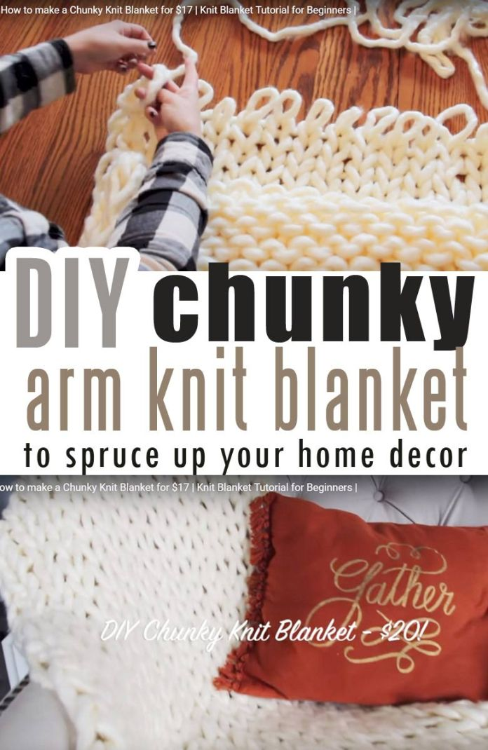 How To Make Diy Chunky Knit Blanket Arm Knit Or Finger Knit Craft Mart