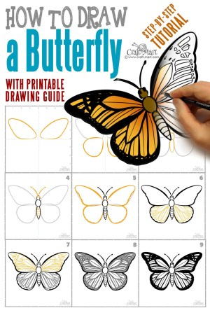 butterfly draw step easy drawing steps craft mart drawings monarch butterflies fast printable beginners guide tutorial simple tekenen quick learn
