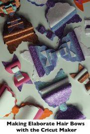 making elaborate glitter hair bows