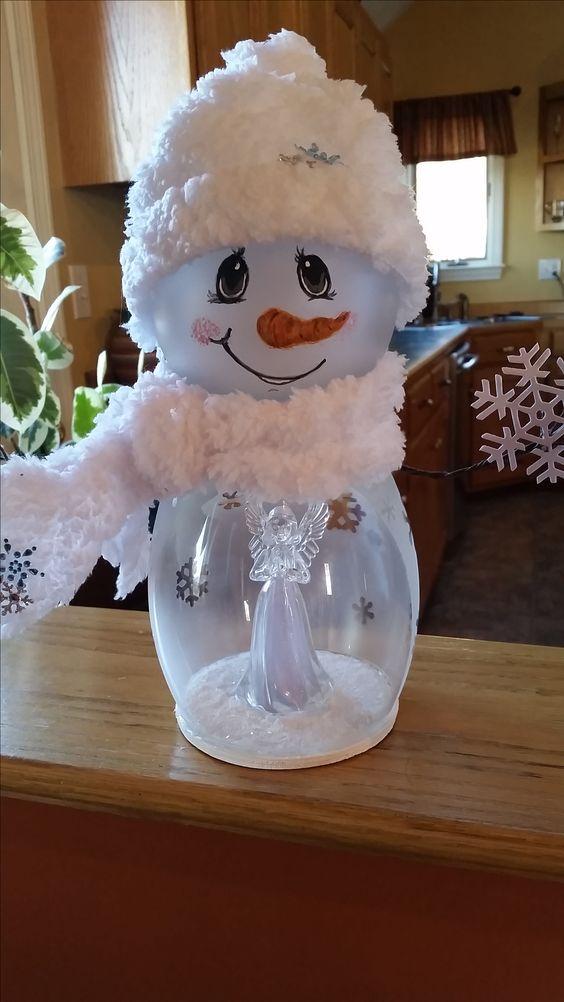 Painted Snowman Globe