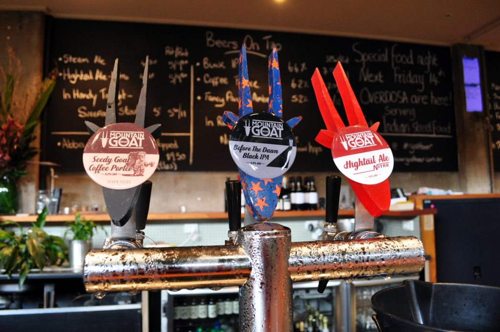 Mountain Goat tap range at the brewery in Melbourne
