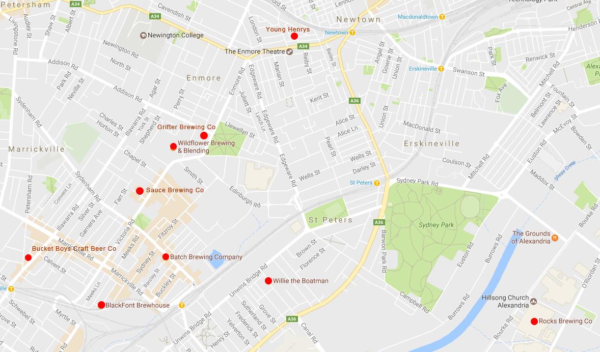 Inner-West-Breweries-Map