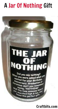A jar of nothing gift christmas crafts for Gift for man who wants nothing
