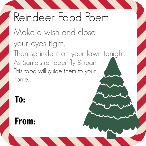 graphic regarding Reindeer Food Poem Printable called Magic Reindeer Food items Poem