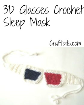 3D Glasses Sleep Mask Crochet Pattern