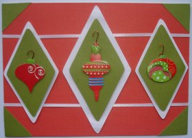 Christmas Card With 3 Tree Ornaments