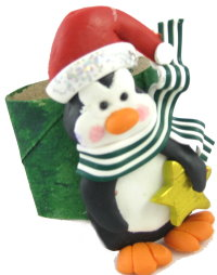 Penguin Napkin Rings Made With Polymer Clay