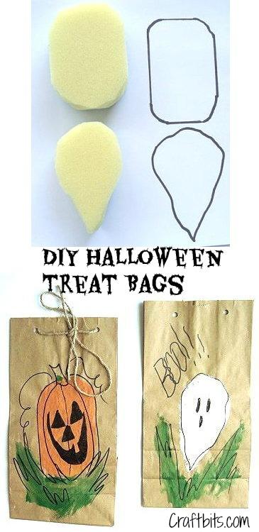 DIY Halloween Treat Bags Using Sponges