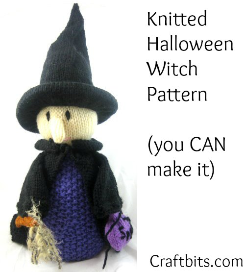 Knitted Halloween Witch - Knitting Patterns - craftbits.com