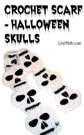Crochet A Gothic Halloween Skull Scarf