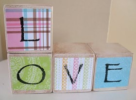 Decoupage Love Blocks