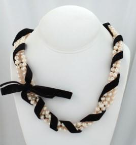 Swarovski Crystal Pearl and Black Velvet