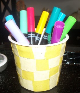 Recycled Plastic Tub Pencil Holder