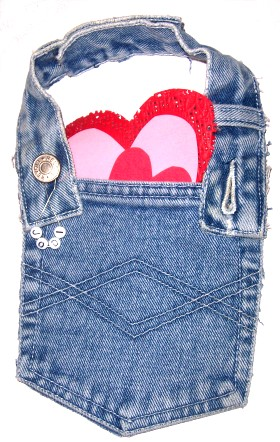 Recycled Jeans Valentines Pouch