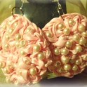 Crochet Ribbon, Wire And Beads Earrings