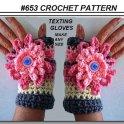Crochet Fingerless Flower Texting Gloves