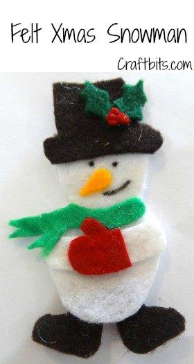 Christmas Brooch: Felt Snowman