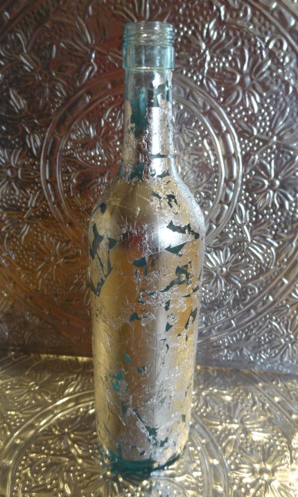 Recycled Wine Bottle With Silver Leaves