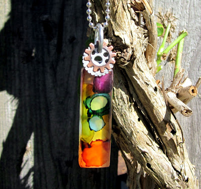Altered Glass Tile Pendant Necklace – Ink Dyed
