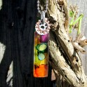 Altered Glass Tile Pendant Necklace - Ink Dyed