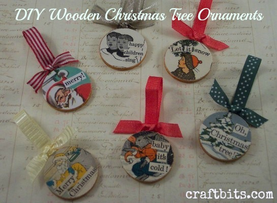 Decoupaged Wooden Christmas Ornaments - Christmas Crafts ...