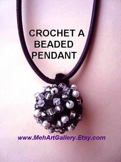 Crochet a beaded ball pendant or earrings