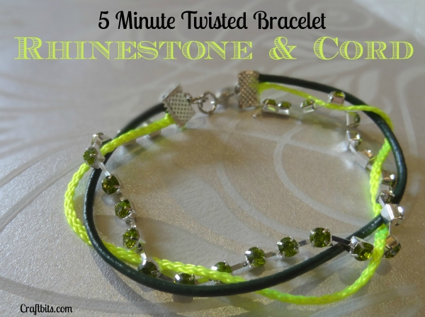 Rhinestone And Cord Twisted Bracelet
