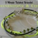 Rhinestone And Cord Twisted Bracelet