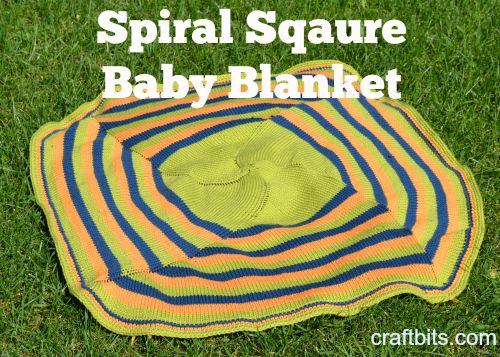 Knitted Spiral Square Baby Blanket