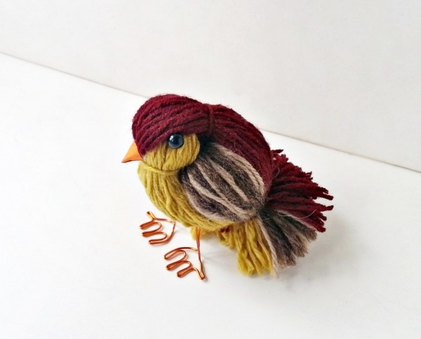 Cute Bird Made Of Leftover Yarn