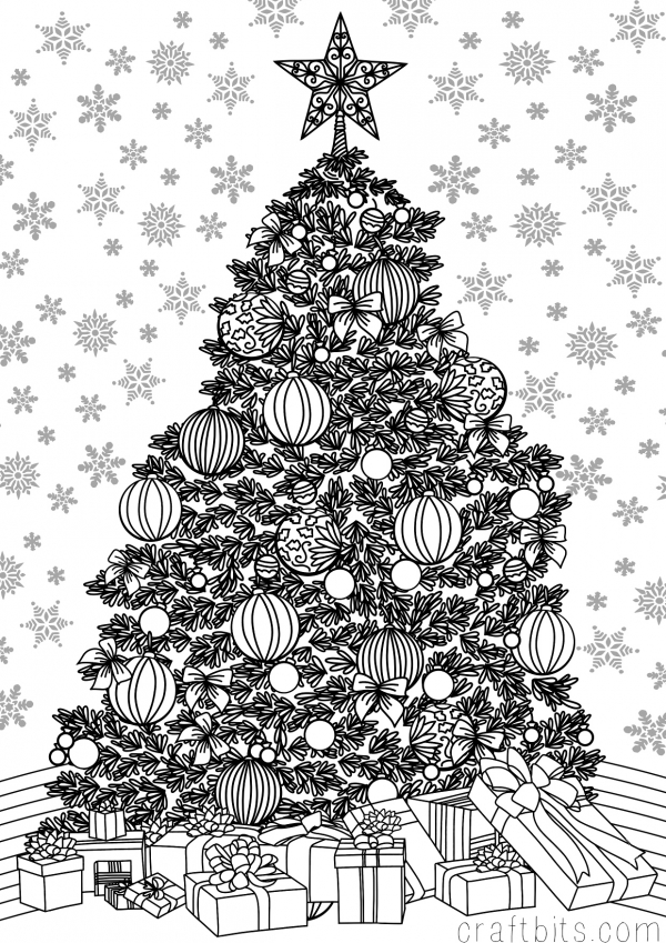 Christmas Themed Adult Coloring Sheet — CraftBits.com   free printable christmas coloring pages for adults
