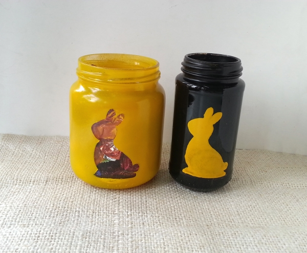 A Bunny Silhouette on an Easter Glass Jar