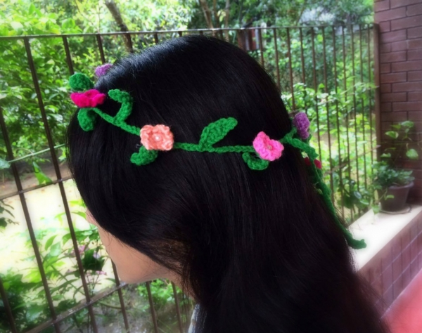 Crochet Floral Head Garland