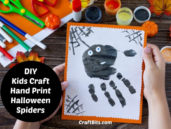Kids Craft – Hand Print Halloween Spiders