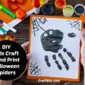 Kids Craft - Hand Print Halloween Spiders