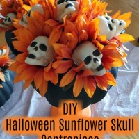 Dollar Tree Halloween Sunflower / Skull  Centrepiece