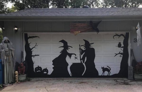 Garage Door Halloween Decorations made using…