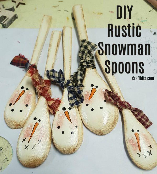 DIY Primitive Snowman Spoons
