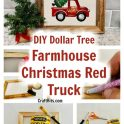 Dollar Tree Farmhouse Christmas Red Truck Wall Art