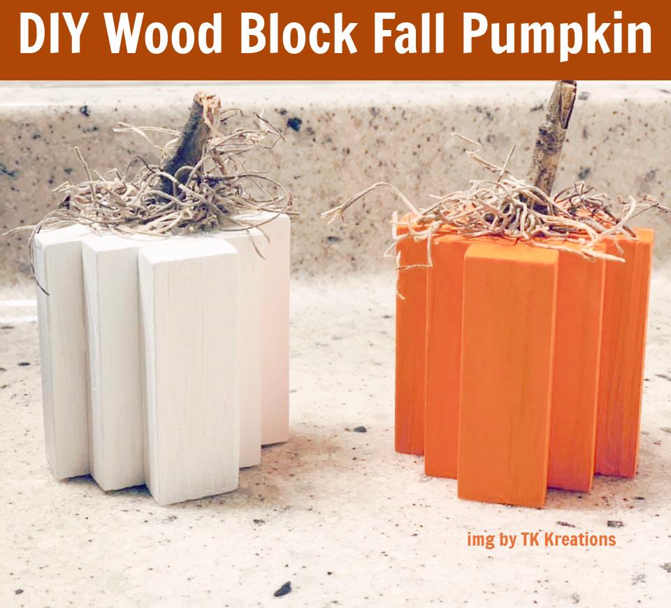 Dollar Tree – Wood Block Pumpkins