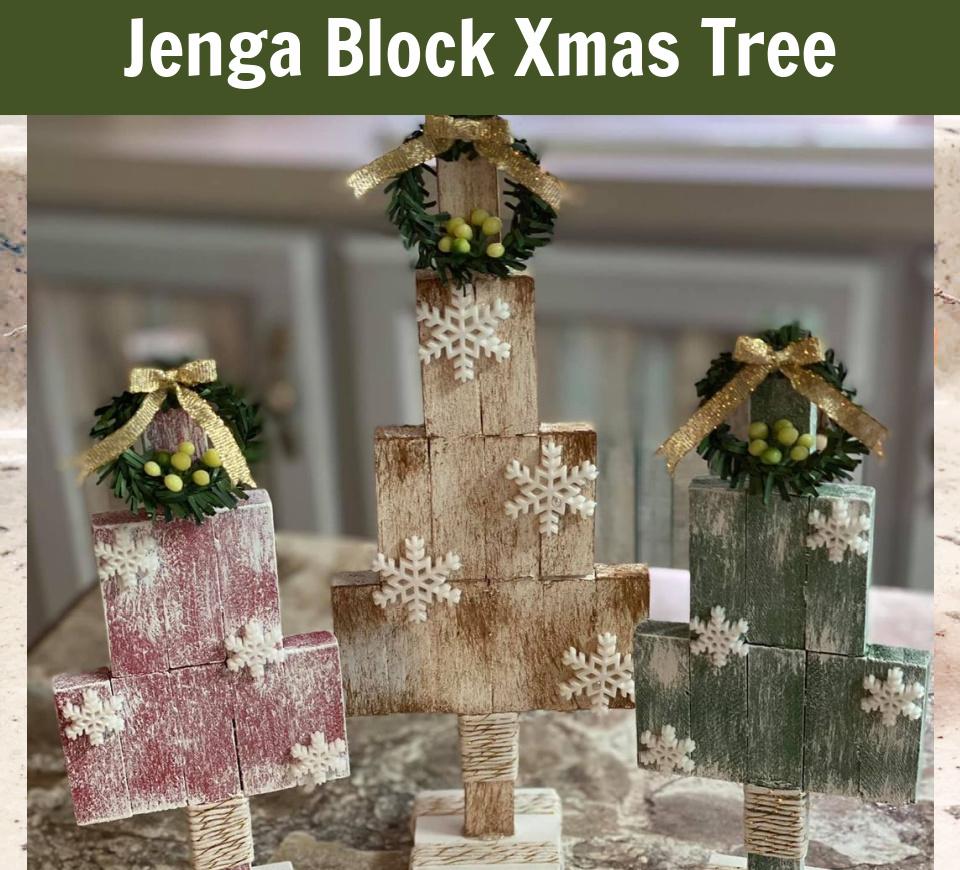 Dollar Tree – Wood Block Rustic Christmas Trees