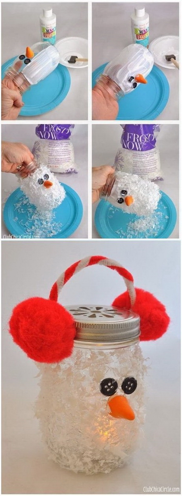 DIY Snowman Mason Jar Luminary. This snowman mason jar luminary is so much fun and festive. Perfect for Christmas or just winter decor!