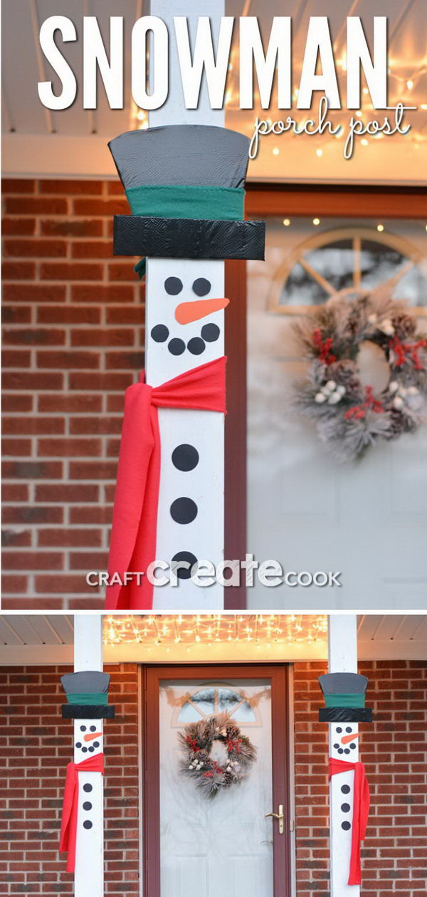 Snowman Porch Decorations. This wood snowman is a great DIY project for your outdoor porch decoration the winter!