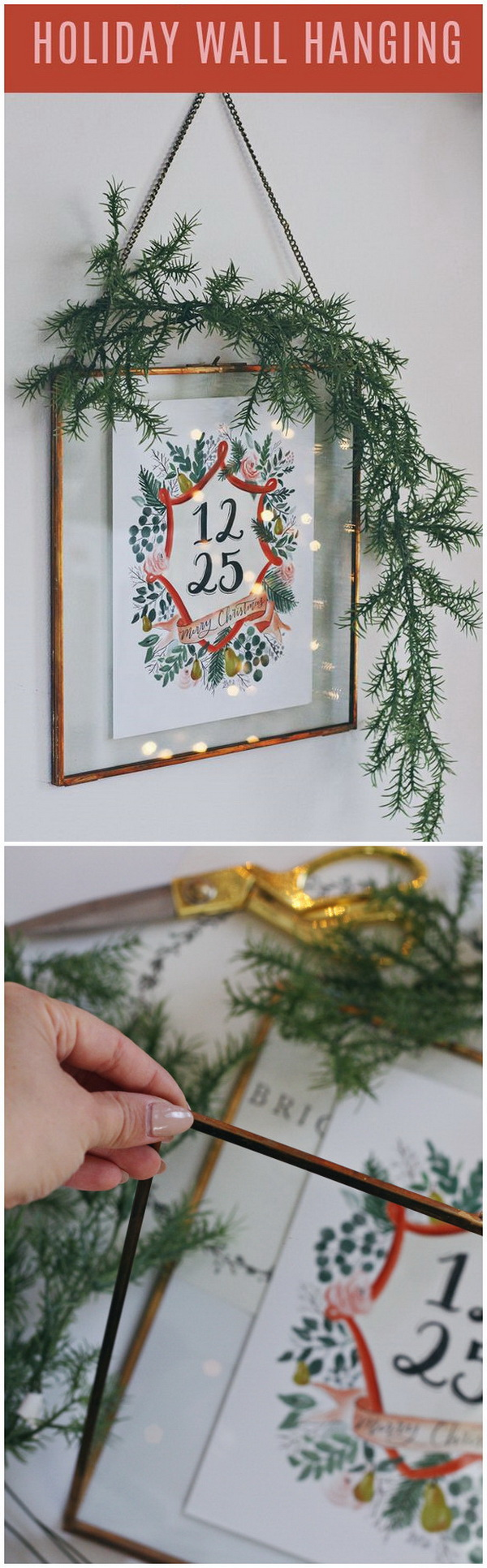 DIY Holiday Wall Hanging. This holiday wall hanging is made from a Hearth & Hand brass frame! It looks simple, but makes for a really unique, modern display in any of your room for this holiday season!