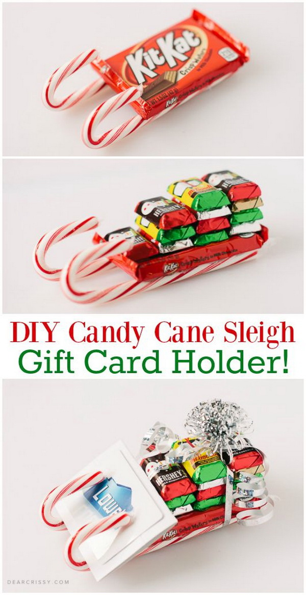 DIY Candy Cane Sleigh Gift Card Holder. This candy cane sleigh is a unique and fun way to give gifts or holiday cards during the holidays with a personal touch with! It makes cute place cards for the kids table for the holiday party and also super easy to make!