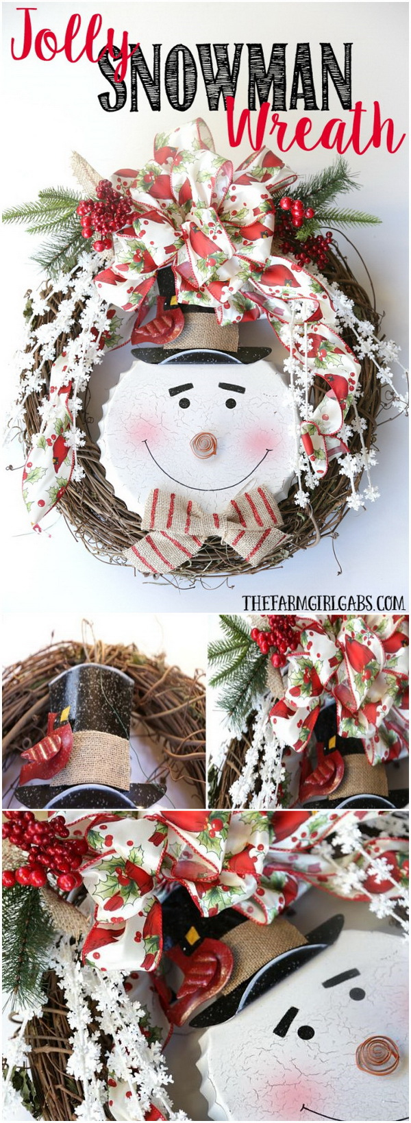 Jolly Snowman Christmas Wreath. DIY wreath is a great project to dress up an empty wall or garage door for the holiday season. This jolly snowman Christmas wreath can be made with scratch arround your home and will create a warm and inviting scent for the holidays when hung on the outside of your front door or inside of your home.