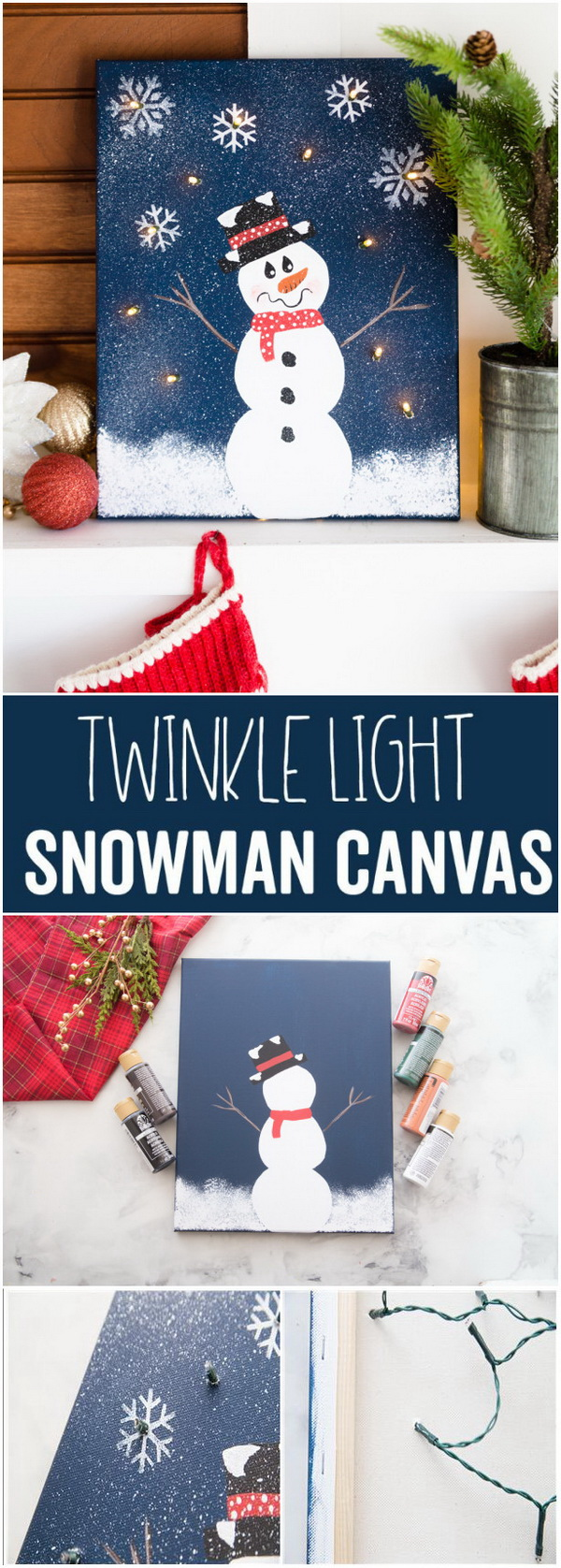 DIY Lighted Snowman Canvas. This is such a creative and adorable canvas with twinkle lights and the perfect way to add some holiday cheer to your mantel! You can also make several for Christmas gifts!