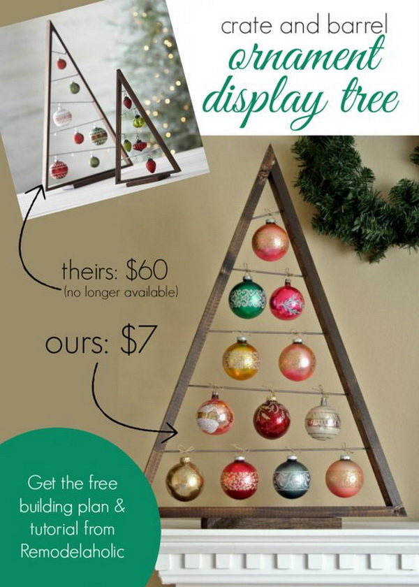 DIY Crate and Barrel Ornament Display Tree. What a beautiful and stylish tree to display your holiday ornaments! It is totally a weekend project for your holiday crafting and decoration!
