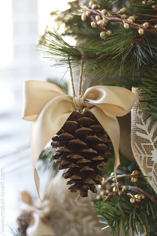 Elegant Pine cone Ornaments with a big bow.